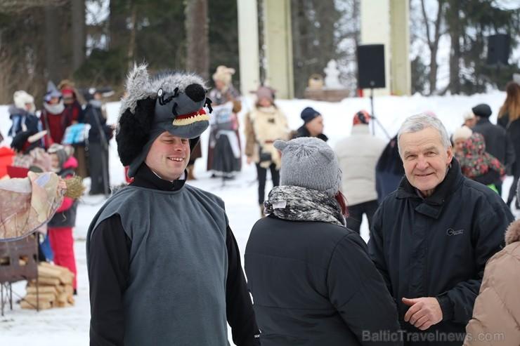 Kopā ar folkloristiem un latvisko tradīciju zinātājiem Alūksnē svinēja Meteņdienu, ejot rotaļās, lieloties, ēdot cūkas šņukuru, vizinoties no kalna un 245983